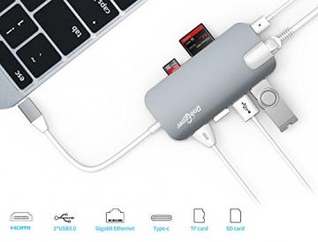USB C Hub (8-in-1)Dootoper Type C Hub mit 3 USB 3.0 Ports, 4K HDMI Port, Ethernet-Port(1000Mbit/s), SD-Kartenleser, Micro SDHC und USB C Ladeanschluss, für Geräte mit USB Typ C wie MacBook Air, MacBook Pro, Mac Mini, Google Chromebook 2016(Space Gray) - 2