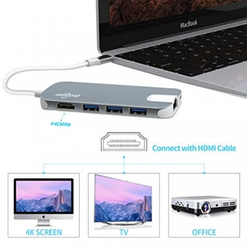 USB C Hub (8-in-1)Dootoper Type C Hub mit 3 USB 3.0 Ports, 4K HDMI Port, Ethernet-Port(1000Mbit/s), SD-Kartenleser, Micro SDHC und USB C Ladeanschluss, für Geräte mit USB Typ C wie MacBook Air, MacBook Pro, Mac Mini, Google Chromebook 2016(Space Gray) - 4