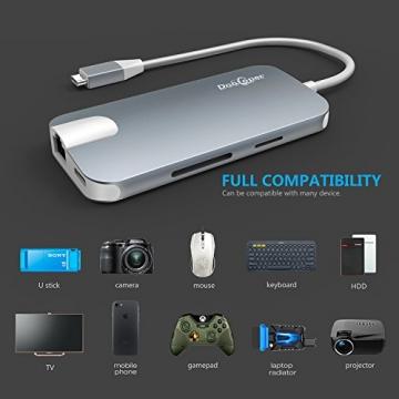 USB C Hub (8-in-1)Dootoper Type C Hub mit 3 USB 3.0 Ports, 4K HDMI Port, Ethernet-Port(1000Mbit/s), SD-Kartenleser, Micro SDHC und USB C Ladeanschluss, für Geräte mit USB Typ C wie MacBook Air, MacBook Pro, Mac Mini, Google Chromebook 2016(Space Gray) - 6