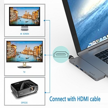 USB C Hub,doedoeflu USB Typ C Adapter mit 40Gbs Thunderbolt 3, Typ C Ladeanschluss, 1 HDMI Port, 2 USB 3.0 Port , SD / Micro SD Card Reader für 2016/2017 MacBook Pro 13